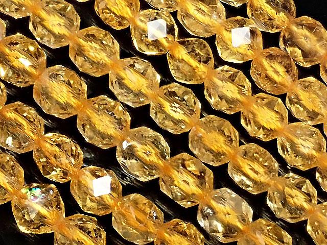 天然石【連販売】シトリン スターカット 丸玉 6mm【1連 4,500円】ビーズとパワーストーン