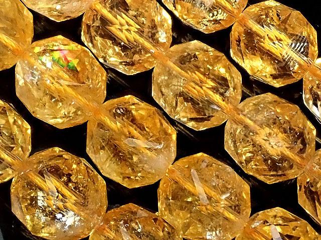 天然石【連販売】シトリン スターカット 丸玉 12mm[プレミアムカット]【1連 13,000円】ビーズとパワーストーン