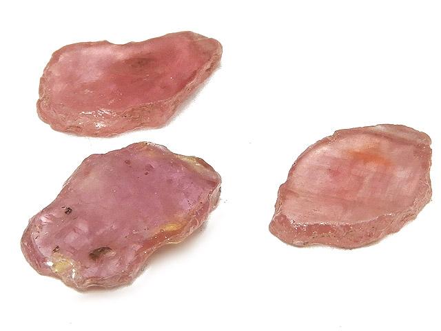 天然石【粒販売】ピンクサファイア フラットナゲット 14mm[クレオ穴]【3粒販売 1,000円】ビーズとパワーストーン