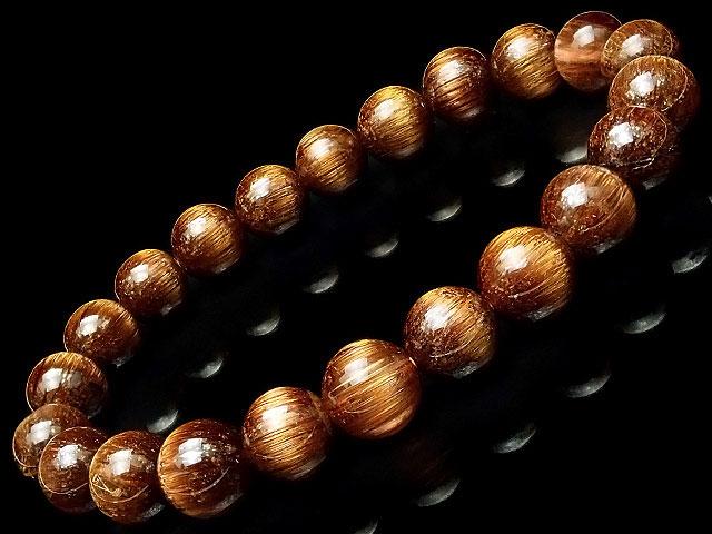 天然石【連販売】ブラウンルチルクォーツ 丸玉ブレス 8mm No.3【1点もの 48,000円】ビーズとパワーストーン