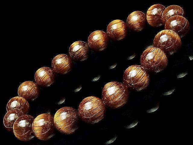 天然石【連販売】ブラウンルチルクォーツ 丸玉ブレス 9mm No.5【1点もの 59,800円】ビーズとパワーストーン