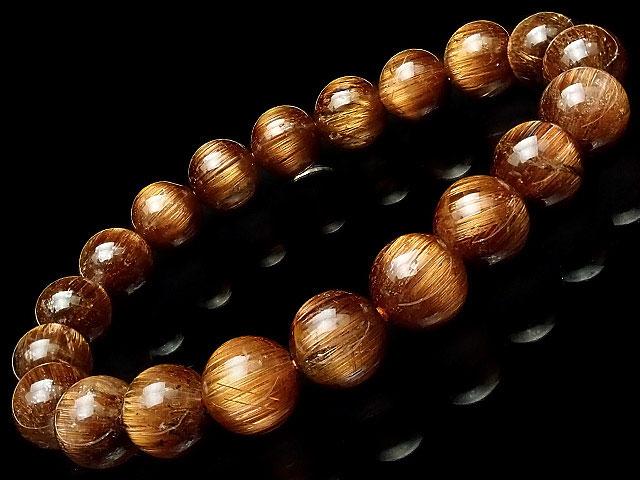 天然石【連販売】ブラウンルチルクォーツ 丸玉ブレス 10mm No.6【1点もの 67,000円】ビーズとパワーストーン