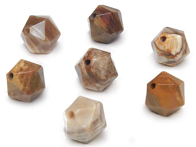 天然石【粒販売】ペトリファイドウッド 20面カット 丸玉 8mm【8粒販売 480円】ビーズとパワーストーン