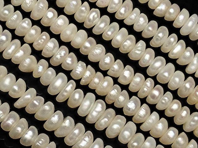 天然石【連販売】淡水真珠 ホワイトパール ポテト 3〜4mm【1連 500円】ビーズとパワーストーン
