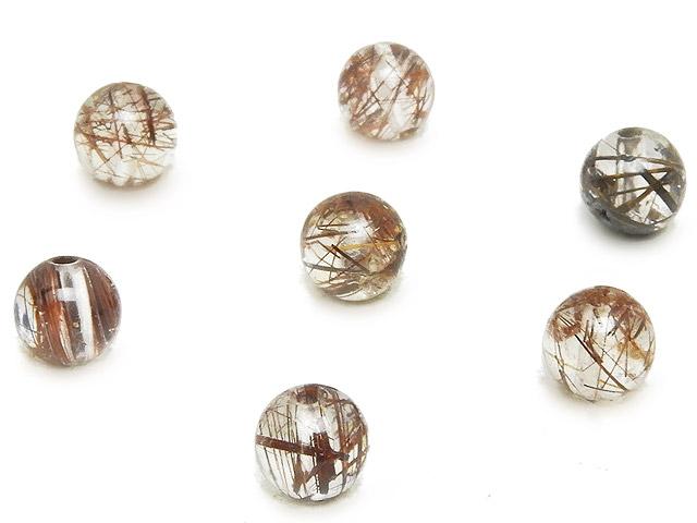ビーズ天然石【粒販売】ダークブラウンルチルクォーツ 丸玉 5mm【8粒販売 400円】とパワーストーン