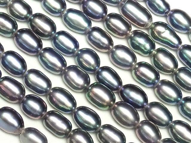 天然石【連販売】淡水真珠 ブルーメタリックカラーパール ライス 3〜6mm【1連 600円】ビーズとパワーストーン