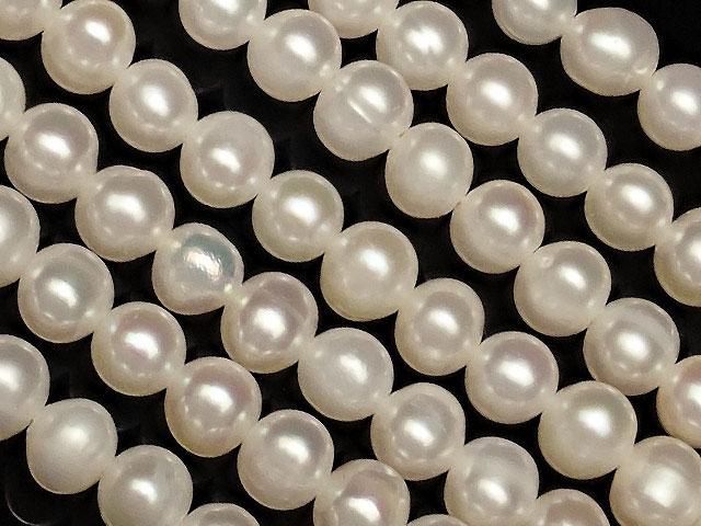 天然石【連販売】淡水真珠 ホワイトパール ポテト 4〜5mm No.8【1連 800円】ビーズとパワーストーン