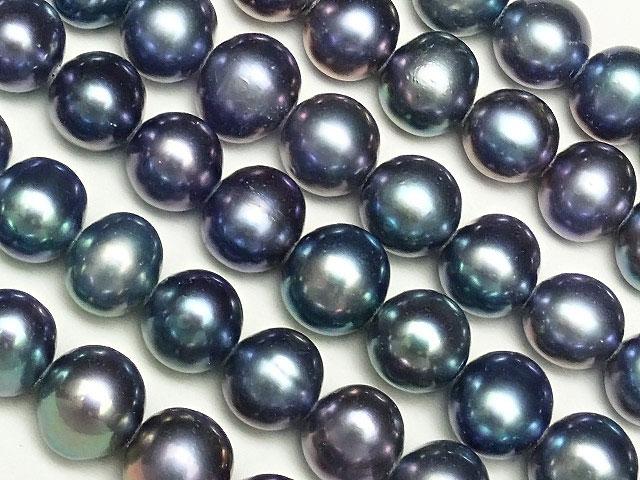 天然石【連販売】淡水真珠 ブルーメタリックカラーパール ポテト 6〜7mm【1連 900円】ビーズとパワーストーン