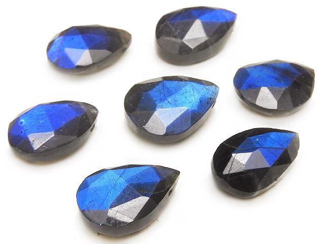 天然石の1点もの粒売りビーズ、パワーストーンも【粒販売】ブラックラブラドライト ペアシェイプ 12〜14mm【3粒販売 1,190円】