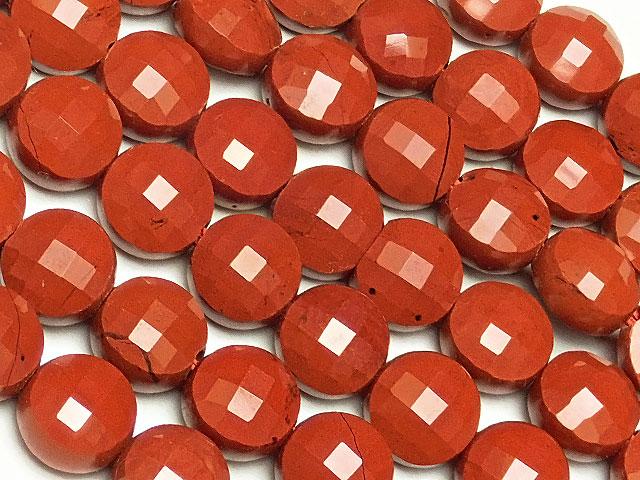 天然石【連販売】レッドジャスパー コインカット 6×4mm[プレミアムカット]【1連 900円】ビーズとパワーストーン