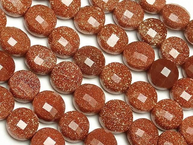 天然石【連販売】ゴールドストーン コインカット 6×4mm[プレミアムカット]【1連 900円】ビーズとパワーストーン