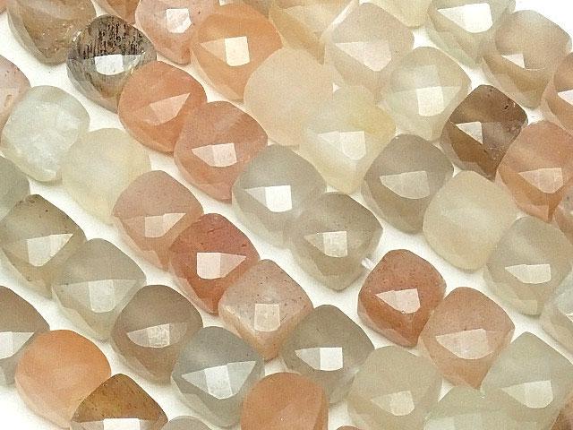 天然石【連販売】タンザニア産 マルチカラームーンストーン キューブカット 4〜5mm【1連 2,400円】ビーズとパワーストーン