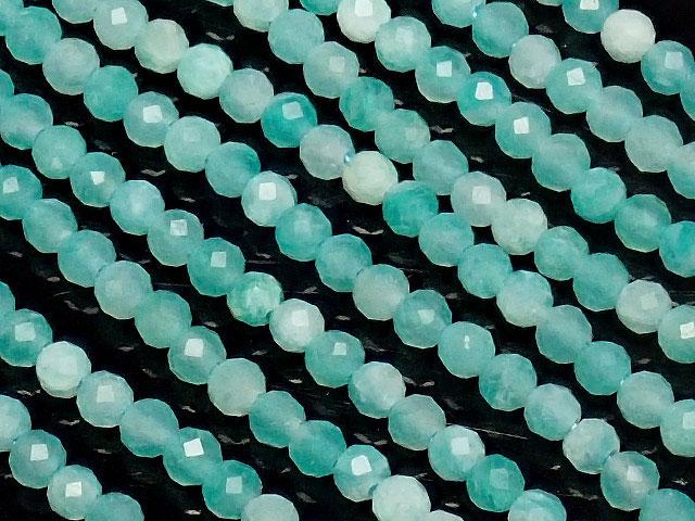 天然石【連販売】アマゾナイトシリカ 面カット 丸玉 2mm[プレミアムカット]【1連 700円】ビーズとパワーストーン