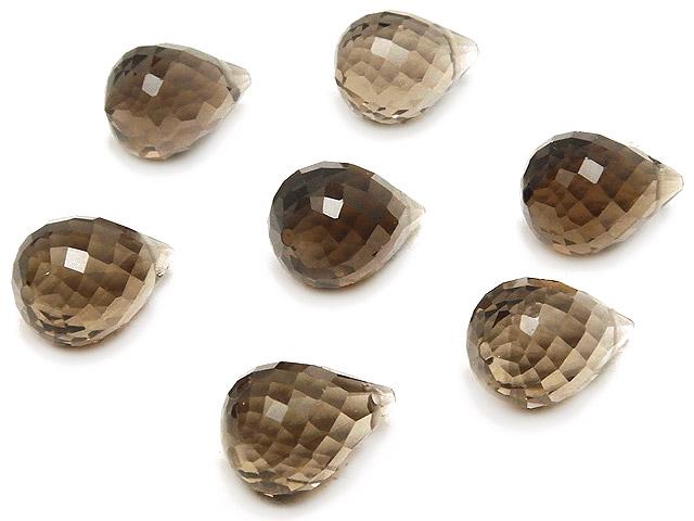 天然石【粒販売】スモーキークォーツ ドロップカット 10×7mm [プレミアムカット]【4粒販売 600円】ビーズとパワーストーン