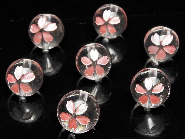 ビーズ天然石【粒販売】天然水晶 クリスタルクォーツ 桜 ピンク色彫刻 丸玉 8mm【4粒販売 640円】とパワーストーン