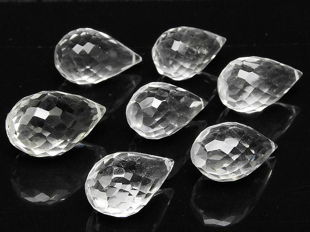 天然石【粒販売】天然水晶 クリスタルクォーツ ドロップカット 13〜15mm【3粒販売 570円】ビーズとパワーストーン