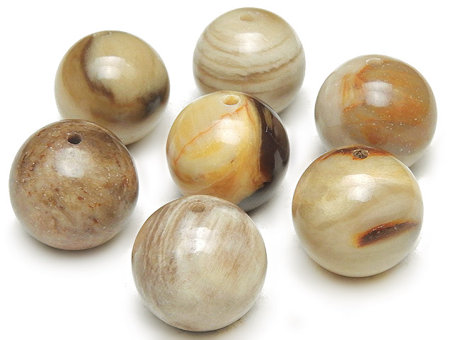 天然石【粒販売】ペトリファイドウッド 丸玉 12mm【5粒販売 480円】ビーズとパワーストーン