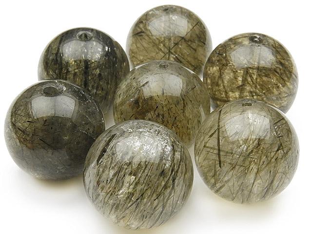 天然石【粒販売】アクチノライトクォーツ 丸玉 15mm【2粒販売 460円】ビーズとパワーストーン