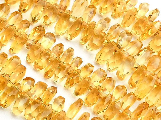 天然石【連販売】シトリン ナゲットカット 6〜11mm[クレオ穴]【1連 9,800円】ビーズとパワーストーン