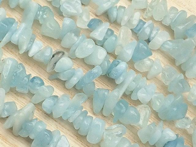 天然石【連販売】アクアマリン チップ 3〜13mm[ロング連]【1連 700円】ビーズとパワーストーン
