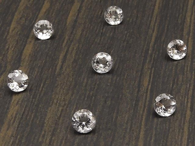 天然石【粒販売】天然水晶 クリスタルクォーツ コインカット ルース 4mm[ファセットカット]【10コ販売 400円】ビーズとパワーストーン