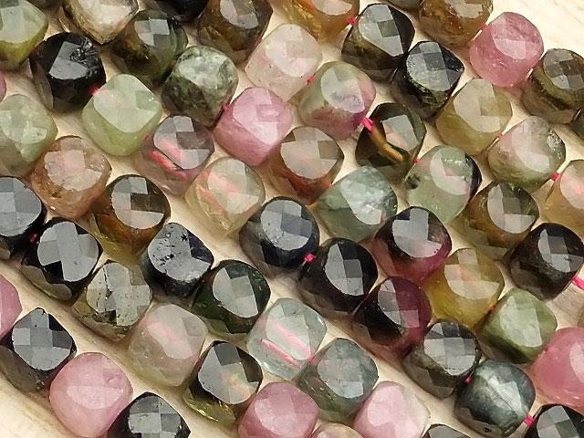 天然石【連販売】マルチカラートルマリン キューブカット 4mm[プレミアムカット]【1連 1,800円】ビーズとパワーストーン