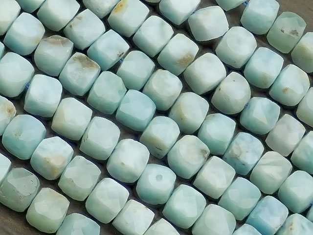 天然石【連販売】ラリマー キューブカット 3〜4mm[プレミアムカット]【1連 2,600円】ビーズとパワーストーン