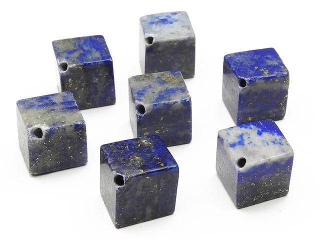 天然石【粒販売】ラピスラズリ キューブ 8〜9mm[斜穴]【5粒販売 450円】ビーズとパワーストーン