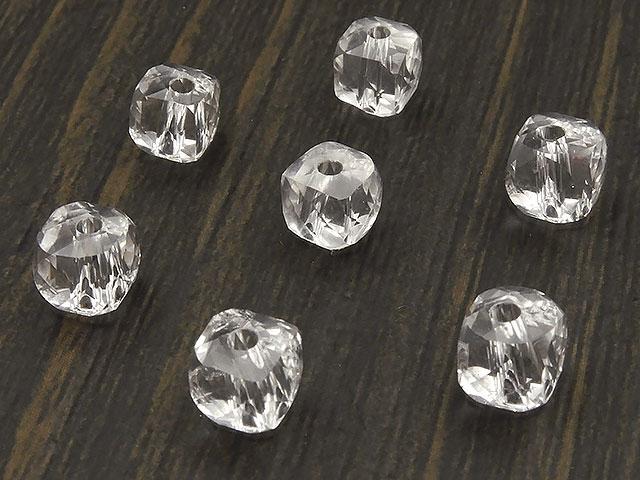 天然石【粒販売】天然水晶 クリスタルクォーツ キューブカット 5〜6mm[プレミアムカット]【10粒販売 500円】ビーズとパワーストーン