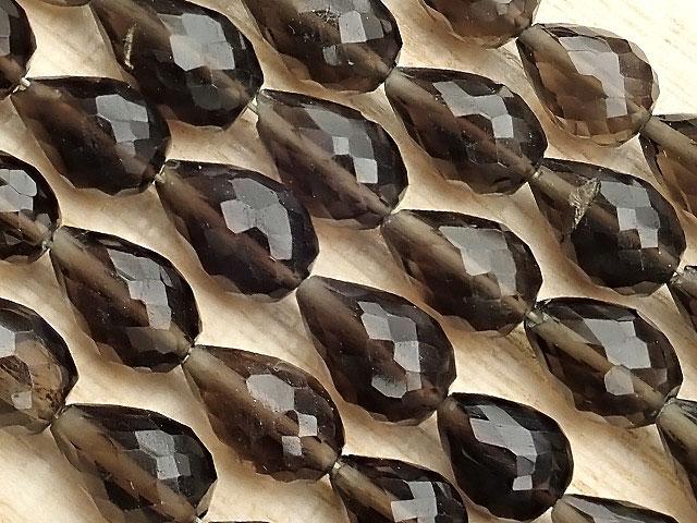 天然石【連販売】スモーキークォーツ ドロップカット 5〜9mm[縦穴]【1連 1,100円】ビーズとパワーストーン