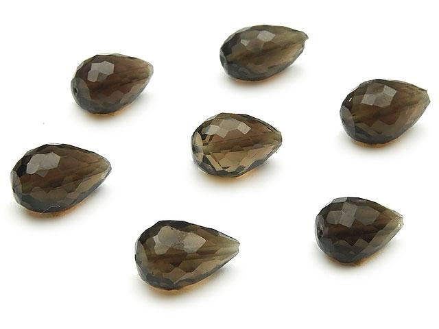 ビーズ天然石【粒販売】スモーキークォーツ ドロップカット 8〜10mm[縦穴]【6粒販売 480円】とパワーストーン