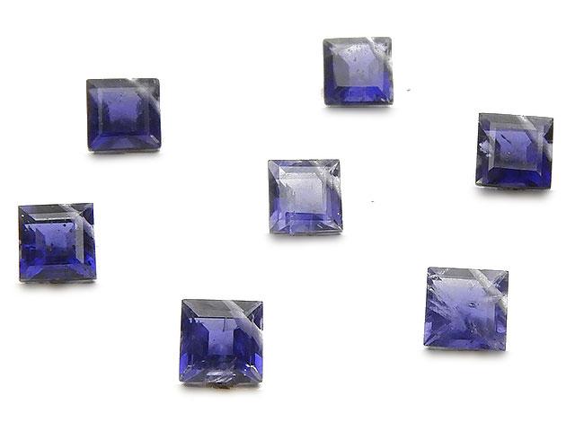 天然石の1点もの粒売りビーズ、パワーストーンも【粒販売】アイオライト ロンバスファセットカット 5mm[プレミアムカット]【4粒販売 960円】
