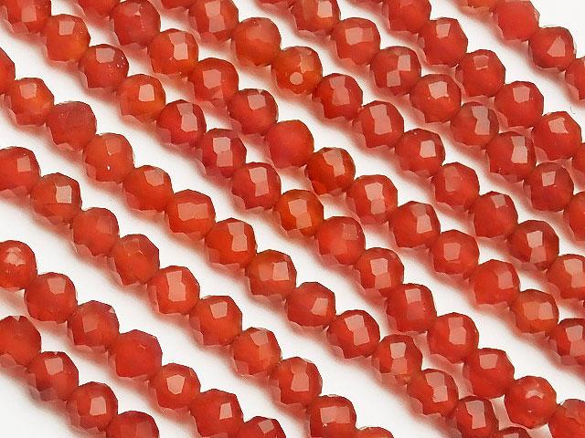 天然石【連販売】レッドアゲート 面カット 丸玉 2mm[プレミアムカット]【1連 500円】ビーズとパワーストーン
