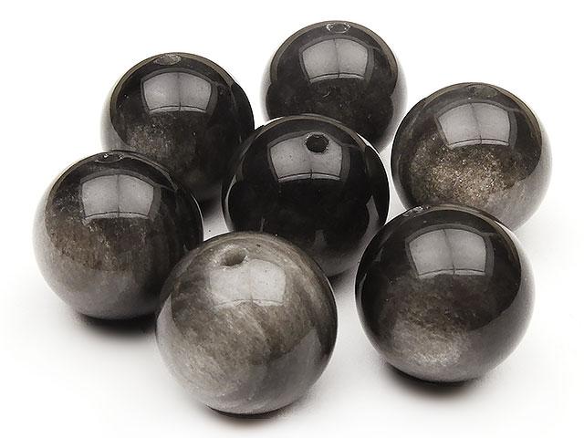 天然石【粒販売】シルバーオブシディアン 丸玉 14mm【3粒販売 630円】ビーズとパワーストーン