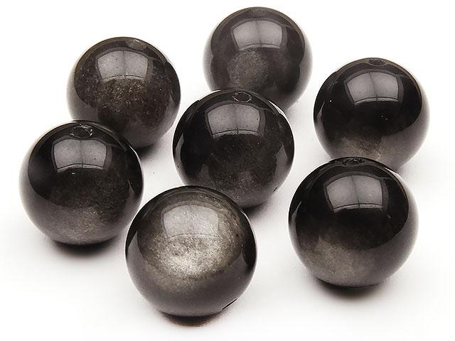 天然石【粒販売】シルバーオブシディアン 丸玉 12mm【4粒販売 540円】ビーズとパワーストーン