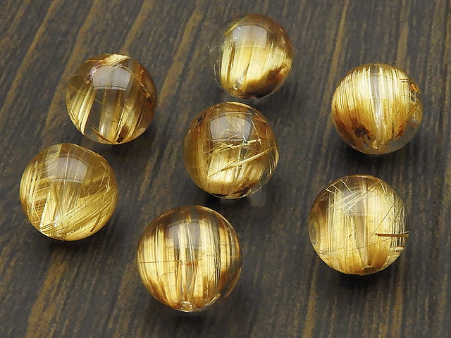 天然石【粒販売】ブラジル産 ルチルクォーツ 丸玉 9mm【1粒販売 6,200円】ビーズとパワーストーン