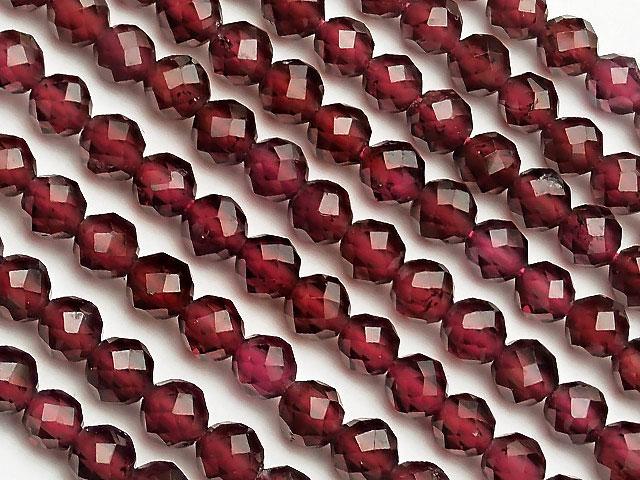 天然石【連販売】モザンビーク産 ガーネット 面カット 丸玉 3mm[プレミアムカット]【1連 800円】ビーズとパワーストーン