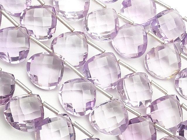 天然石【連販売】ブラジル産 アメジスト マロンブリオレットカット 10mm[プレミアムカット][ショート連]【1連 6,000円】ビーズとパワーストーン