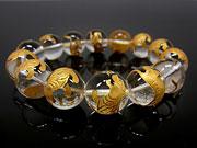 天然石白虎 金色彫刻 クリスタル 丸玉 16mm【3粒販売 1,100円】ビーズとパワーストーン