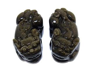 天然石ゴールデンオブシディアン 貔貅(ヒキュウ)彫刻 根付け 34mm【1セット販売 800円】ビーズとパワーストーン