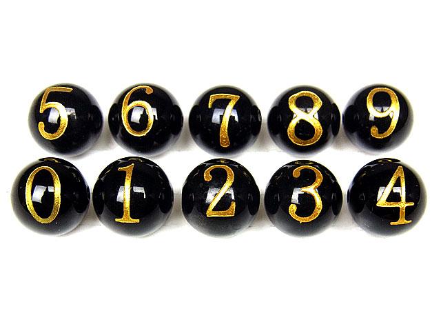 天然石【粒販売】オニキス 数字 金色彫刻 0 1 2 3 4 5 6 7 8 9 丸玉 10mm【1粒販売 100円】ビーズとパワーストーン