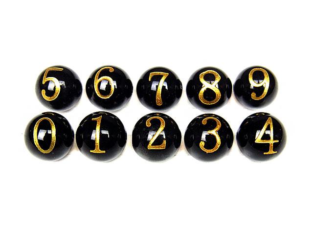 天然石【粒販売】オニキス 数字 金色彫刻 0 1 2 3 4 5 6 7 8 9 丸玉 8mm【1粒販売 100円】ビーズとパワーストーン