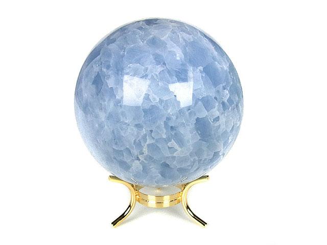 天然石ブルーカルサイト スフィア 75mm[台座付]【1点もの 7,200円】ビーズとパワーストーン