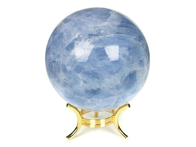 天然石ブルーカルサイト スフィア 83mm[台座付]【1点もの 9,800円】ビーズとパワーストーン