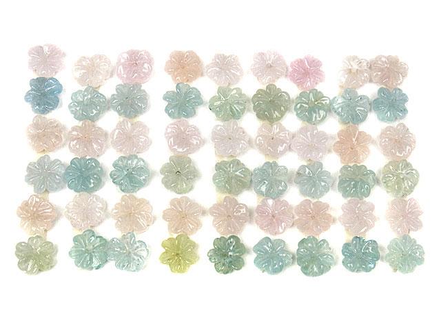 天然石ミックスベリル フラワー No.1【6粒販売 1,500円】ビーズとパワーストーン
