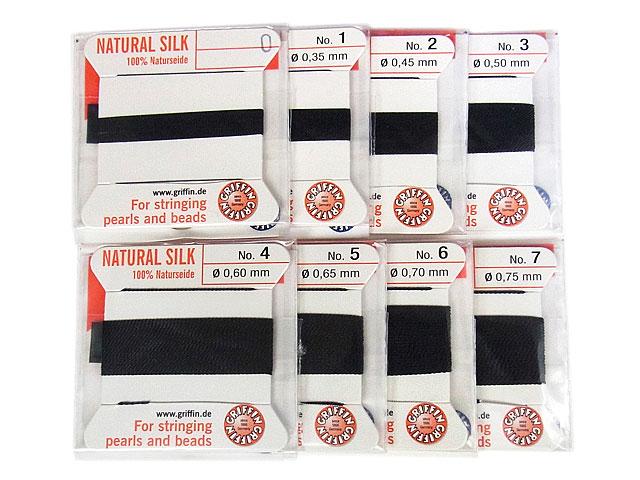 ビーズ天然石グリフィンコード ブラック 0.3mm〜0.75mm【1コ販売 200円】とパワーストーン