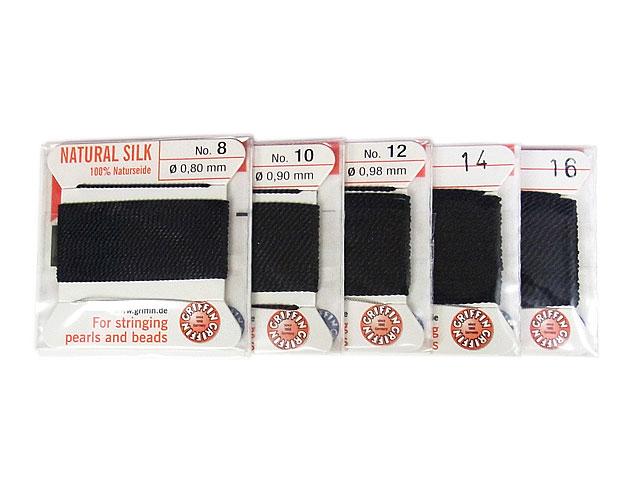 ビーズ天然石グリフィンコード ブラック 0.8mm〜1.05mm【1コ販売 200円】とパワーストーン