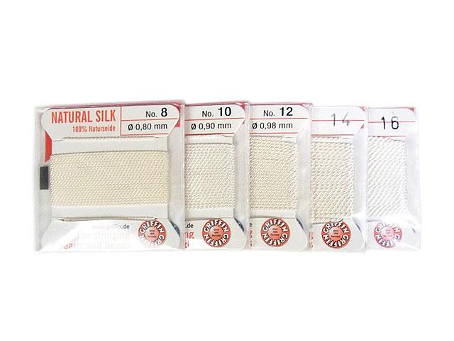 ビーズ天然石グリフィンコード ホワイト 0.8mm〜1.05mm【1コ販売 200円】とパワーストーン