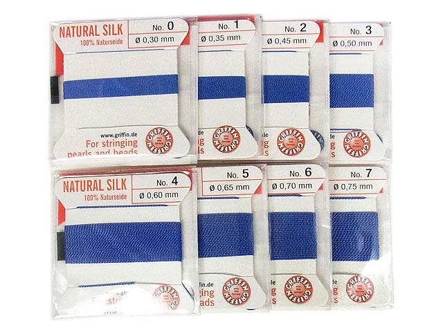 ビーズ天然石グリフィンコード ブルー 0.3mm〜0.75mm【1コ販売 200円】とパワーストーン