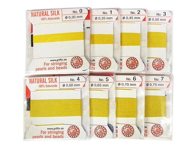ビーズ天然石グリフィンコード イエロー 0.3mm〜0.75mm【1コ販売 200円】とパワーストーン